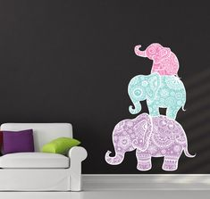 Wall Decal Elephant Full Color Family Decals Indian by BestDecals