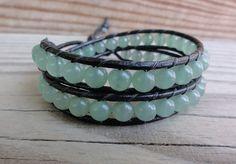 $8 Starting Bid: Green Aventurine Double Leather Wrap #Bracelet