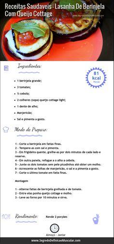 Lasanha De Berinjela Com Queijo Cottage  ➡ http://www.SegredoDefinicaoMuscular.com/receitas-saudaveis-lasanha-de-berinjela-com-queijo-cottage  #Receitas #recipe #comodefinircorpo