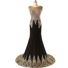 Backless Mermaid Evening Dress w/ Gold Lace