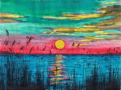 Sundown in The Glades by Beverly Marshall Ocean Sea Water Lake Sunset Sky Sun | eBay PRINT $20