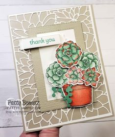 Simply Succulents stamp set image colored with Stampin\' Blends markers. by Patty Bennett www.PattyStamps.com