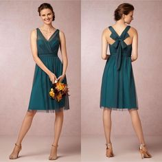 A Line V Neck Knee Length Teal Color Bridesmaid Dresses 2015 Short VintageTulle Satin Bow Cocktail Party Gowns, $74.34 | DHgate.com