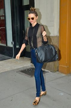 blouse, loafers, sunnies