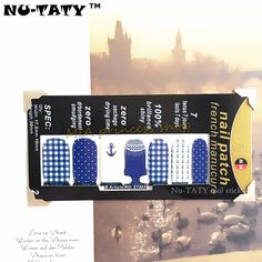 Nu-TATY 30 style Nail Wraps Stickers, Navy Marine Designs Waterproof Nail Decal Gel Polish French Manicure Patch Makeup Tools