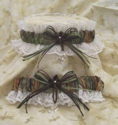 REALTREE CAMO w/white wedding garter SET-redneck-prom-fun. $19.99, via Etsy.
