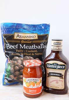 Crockpot Meatballs  32 oz bag of meatballs. 18 oz jar of jelly (grape, apricot). 18 oz jar of bbq sauce. Put 3 into crockpot, stir around. Cook 6-8 hours on low or 2-2 1/2 hours on high. Change to warm.  Put bowls and toothpicks near the crockpot, guests serve themselves.