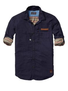 Bonded Shirt With Leather Chest Pocket Scotch & Soda