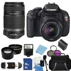 Canon EOS Rebel T3i / 600dDSLR Camera with EF-S 18-55mm IS II Lens & 55-250mm f/4-5.6 IS II Lens + Accessory Package $649.95