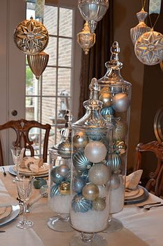 Blingy and Blue table set for Christmas great for window ledge in dining room