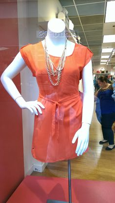 @ftfpins has an entire wall of Orange!  Try this orange t-shirt dress with gold chain accessories.