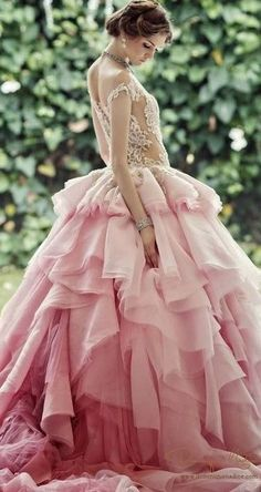 And the bride wore PINK! // Pink Wedding Gown by Dominique Nadine Beautiful Gowns, Beautiful Outfits, Gorgeous Dress, Gorgeous Gorgeous, Bridal Gowns, Wedding Gowns, Tulle Wedding, Spring Wedding, Wedding Bride