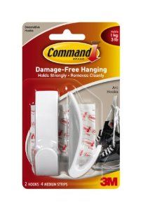 Command Designer Medium Arc Hooks, White, 2-Hook by Command. Save 27 Off!. $5.08. Amazon.com                  3M Adhesive Technology Command products offer simple, damage-free hanging solutions for many projects in your home and office. Simplify decorating, organizing, and celebrating with an array of general and decorative hooks, picture and frame hangers, organization products, and more. Thanks to the innovative Command adhesive strips, you can mount and remount your Command product...