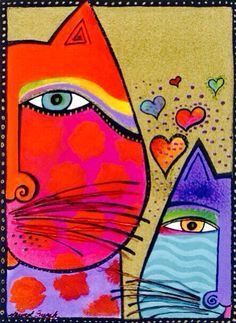 A Bunch of Love by Laurel Burch Abstract Cat Flowers  Double Matted /& Framed