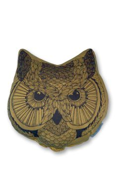 Owl Face Pillow - Gold
