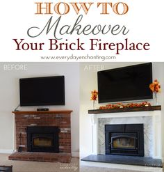 How To Makeover Your Brick Fireplace | Learn how to cover over a brick fireplace with minimal demo and disruption!