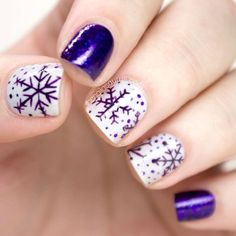 Snowflakes Purple Christmas Nail Art