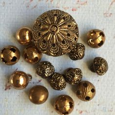 #Vintage #brass #filigree cricket cage buttons victorian era ball buttons, View more on the LINK: http://www.zeppy.io/product/gb/3/267387878/