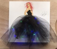 The lighting dress Hope you like it guys. I am so grateful to you. I feel your positive energy. And it motivates me to create more and more. Fashion Design Drawings, Fashion Sketches, Fashion Illustration Dresses, Dress Illustration, Estilo Rock, Dress Sketches, Creative Artwork, Designs To Draw, Diy Art