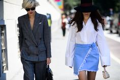 Women's fashion | Suit and jeans skirt • Milan street style