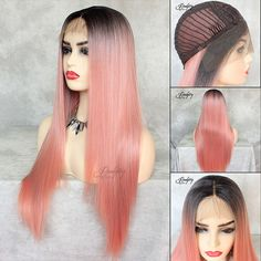 Pink straight long synthetic wig with dark root. Most natural style.