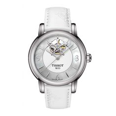 Women's Swiss Luxury automatic movement wrist watch from the Lady Heart Automatic Collection. Featuring a stainless steel case, with a brown dial with index & roman numerals, scratch-resistant sapphire crystal, and a white rubber strap with a butterf Big Watches, Cool Watches, Watches For Men, Lady, Bracelet Cuir, High Jewelry, Jewellery, Mother Pearl, Diamond Studs