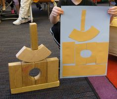 The students made their own blueprints and then constructed their creations using blocks during a unit on construction. You will need to prepare paper shaped like the various blocks you have in your classroom.