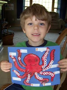 """Octopus number craft...could do """"names for numbers"""" with addition/subtraction facts"""
