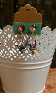 Washi origami crane earrings