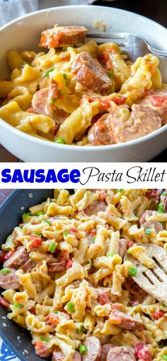 Sausage Pasta Skille Sausage Pasta Skillet is a quick and easy one pot meal the whole family will love. Easy Sausage Recipes, Easy Pasta Recipes, Bratwurst Recipes Skillet, Kielbasa Pasta Recipes, Pork Recipes, Sausage Meals, Skillet Recipes, Rice Recipes, Casserole Recipes
