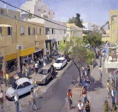Sheinkin Street, Tel Aviv, 2000, oil on linen, 68 x 74 in John Dubrow