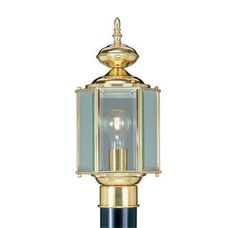 Livex Lighting 2117 1 Light 100W Post Light with Medium Bulb Base and Clear Beveled Glass from Outdoor Basics Series