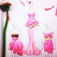 22 year old fashion student creates gorgeous dress designs out of real flowers - Imgur
