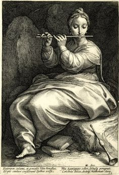 Euterpe; WL, seated to l, braided hair, playing a flute; a clarion is on the ground Engraving