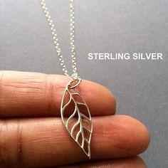 Leaf Necklace Silver Leaf Necklace Sterling by Instyleglamour