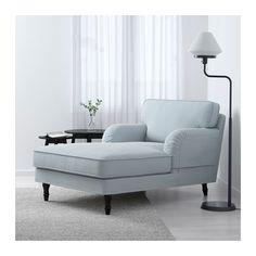 STOCKSUND Chaise - Remvallen blue/white, black - IKEA