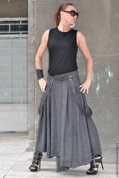 Купить Серая ассиметричная юбка - серый, однотонный, юбка в пол, юбка длинная, юбка летняя