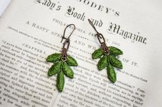 SWEET APPLE GREEN lace earrings KELLY green by tinaevarenee on Etsy, $16.00