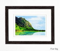 Home Decor - Digital Painting FREE Shipping Hawaii Landscape Art by Sensing Majesty - Rene Comer on Etsy