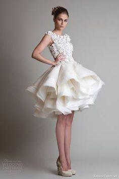 abito sposa di Krikor Jabotian 2015 - Abito corto o lungo? A seconda della cerimonia - http://www.matrimonio.it/collezioni/abiti_da_sposa/