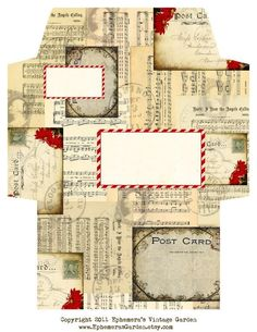 printable christmas envelope   Vintage Christmas ... by EphemerasGarden   Paper Crafts Pattern Christmas Envelopes, Vintage Christmas, Journals, Health Fitness, Vintage White Christmas, Magazines, Health And Wellness, Journal, Diaries