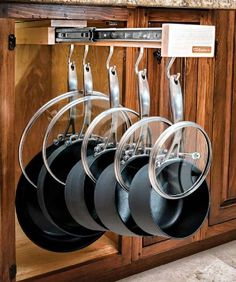 DIY Pan Organizer - 16 Super Smart DIY Kitchen Storage Ideas | GleamItUp: