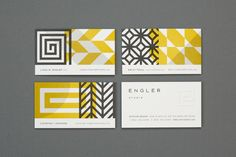 Design and illustration boutique Eight Hour Day created the visual identity for Engler Studio. The identity underlines the interior design Corporate Design, Brand Identity Design, Corporate Branding, Business Branding, Web Design, Print Design, Logo Design, Shape Design, Modern Business Cards