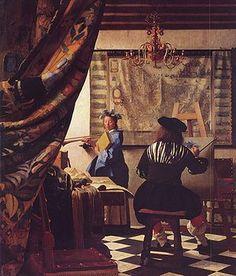 El arte de la pintura  (De Schilderkunst)  Johannes Vermeer, h. 1666  Óleo sobre lienzo • Barroco  120 cm × 100 cm  Museo de Historia del Arte de Viena, Viena,  Austria