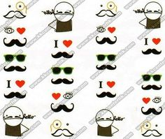 MUST BUY when these are back in stock!! - N.NAIL Man With Mustache Pattern Nail Water Decals KKcenterHk