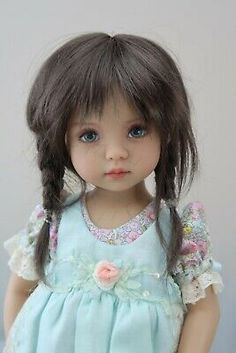 """with bangs Monique Gold Adorabel /""""Pixie/"""" Size 4 in BLUE Doll Wig"""