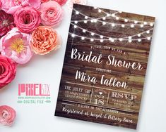 Rustic Glam Bridal Shower Invitation, Country Bridal Shower, String Lights, Wedding Shower, Vintage Barn Siding, PRINTABLE & CUSTOMIZABLE by shopPIXELSTIX on Etsy