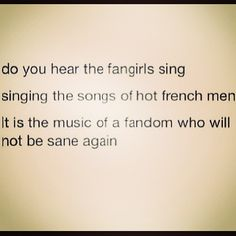 Yup, so accurate. No sanity in Les Mis fandom, thanks to the Barricade Boys. Fangirl