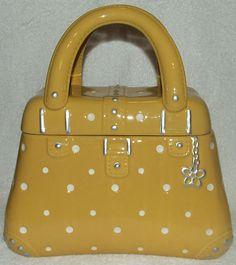 Cute Ceramic Yellow Polka Dot Purse Hand Bag Cookie Jar by Temp Tations | eBay