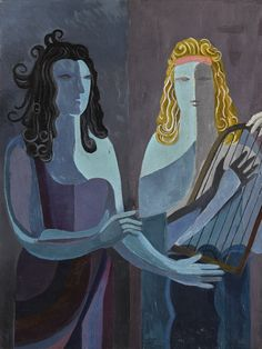 Alexandra Exter (Russian, 1882-1949), Two Women with a Lyre, undated. Oil on canvas.